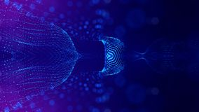 Blue particles form line and surface grid. microcosm or space. 3d rendering science fiction background of glowing. Particles form line and surface grid Stock Illustration