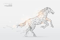 The particles, geometric art, line and dot of horse running. Abstract vector illustration. graphic design concept of speed - line stroke weight editable vector illustration