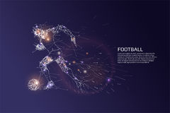 The particles and line dot of football player motion. Vector illustration Royalty Free Stock Photo