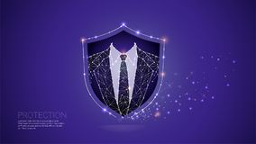 The particles line and dot of human-business protection. Royalty Free Stock Photos