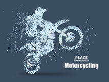 Particles of motorcycle riders,full enterprising across significance vector illustration. Royalty Free Stock Photo