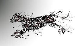Particles panther. Black Panther illustration particles running Royalty Free Stock Photo
