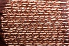 Particolare allungato e torto del tendine dal lato del tamburo indigeno Fotografia Stock