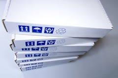 Particolare bianco delle scatole di cartone Immagine Stock Libera da Diritti