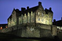 Particolare del castello di Edinburgh al tramonto in inverno fotografia stock libera da diritti