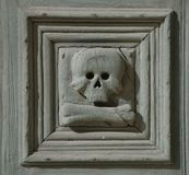 Particolare del cranio, Chiesa del Purgatorio Immagine Stock