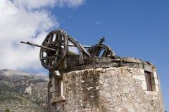 Particolare del mulino a vento rovinato a Loukata, Kefalonia, settembre 2006 Fotografia Stock
