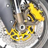 Particolare del primo piano della rotella di fronte del motociclo Immagini Stock