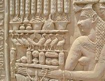Particolare del primo piano delle sculture hieroglyphic immagine stock