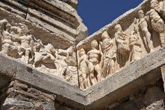 Particolare del tempiale del Hadrian, Ephesus Fotografie Stock Libere da Diritti