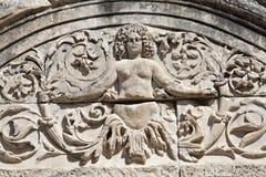 Particolare del tempiale del Hadrian, Ephesus, Turchia Fotografia Stock Libera da Diritti