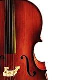 Particolare del violoncello sopra bianco Fotografie Stock