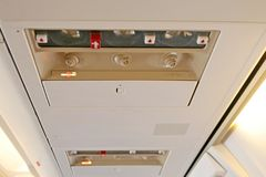 Particolare dell'interiore dell'aeroplano Fotografie Stock