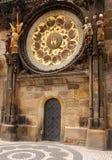 Particolare dell'orologio astronomico a Praga Fotografie Stock