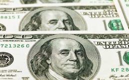 Particolare della banconota in dollari 100 Fotografie Stock Libere da Diritti