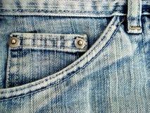 Particolare della casella dei jeans Fotografia Stock