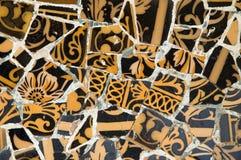 Particolare della ceramica dal banco di Gaudi nella parità Fotografia Stock