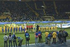 Particolare della cerimonia prima della corrispondenza di gioco del calcio Fotografie Stock Libere da Diritti