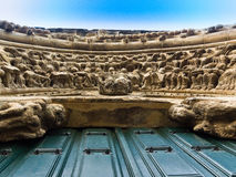 Particolare della facciata di Romanesque del chuch di Portomarin Fotografia Stock