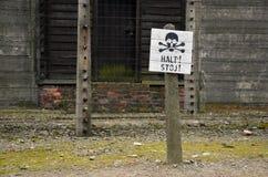 Particolare della foto nel campo di concentramento nazista in Polonia Immagini Stock