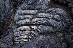 Particolare della lava della corda con oro, Hawai Immagini Stock Libere da Diritti