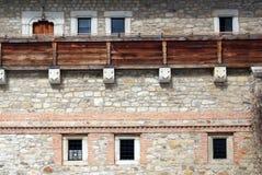 Particolare della parete di un castello antico Fotografia Stock Libera da Diritti