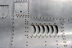 Particolare della pelle dell'aeroplano del jet Immagini Stock