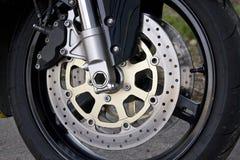 Particolare della rotella del motociclo Fotografie Stock