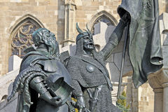 Particolare della statua del re Matthias Corvinus Fotografia Stock