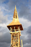 Particolare della torretta di segnalatore acustico di legno che è costruita Fotografie Stock