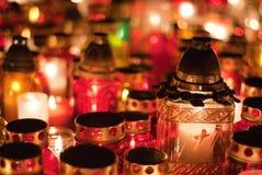 Particolare delle candele nel cimitero di Wroclaw Fotografia Stock