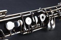Particolare dello strumento musicale di Oboe Immagini Stock