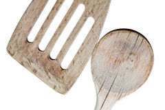 Particolare di legno del cucchiaio sparato su bianco Fotografia Stock Libera da Diritti