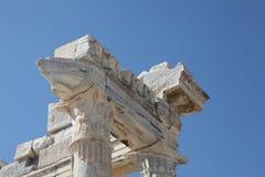 Particolare di marmo del tempiale di Apollo antico Fotografie Stock Libere da Diritti