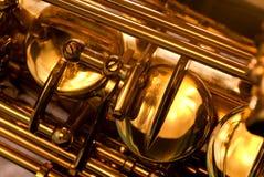 Particolare di un sassofono dell'alt Fotografia Stock