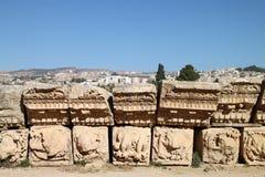 Particolare di un tempiale in Jerash, Giordano Fotografie Stock Libere da Diritti