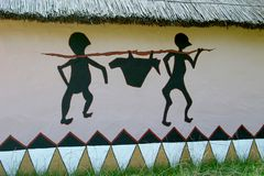 Particolare di una casa africana verniciata Immagine Stock Libera da Diritti