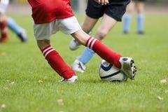 Particolare di una corrispondenza di gioco del calcio Fotografia Stock Libera da Diritti