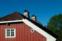 Particolare di vecchia, casa rossa Fotografie Stock Libere da Diritti