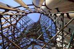 Particolare di vecchia struttura abbandonata del mulino a vento Fotografie Stock Libere da Diritti