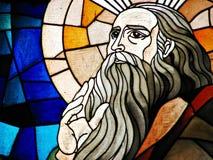 Particolare di vetro macchiato di un profeta Immagini Stock