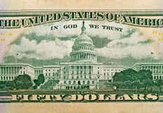 Particolare a macroistruzione degli Stati Uniti $50 Bill Immagine Stock
