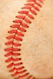 Particolare a macroistruzione di baseball consumato Immagine Stock