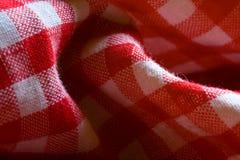 Particolare rosso del reticolo del panno di picnic Fotografie Stock Libere da Diritti