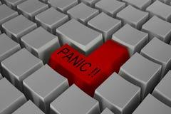 Particolare rosso di tasto di panico su una tastiera di calcolatore Fotografia Stock