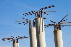 Particolari della costruzione delle colonne concrete Fotografie Stock