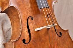 Particolari di un violoncell Fotografia Stock