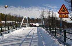 Particolari svedesi del ponticello nei colori di inverno Immagini Stock Libere da Diritti