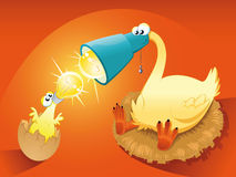 Particular chick with mother. Funny cartoon and  illustration Stock Image