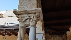Particular of a column in Cefalu Cathedral Cloister royalty free stock photo